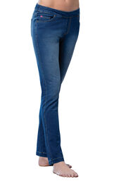 Model wearing PajamaJeans - Skinny Bluestone Wash image number 0