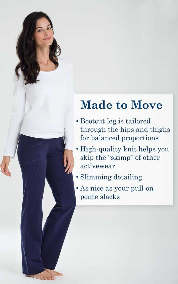 "Made to Move - Bootcut leg is tailored through the hips and thighs for balanced proportions. High-quality knit helps you skip the ""skimp"" of other activewear. Slimming detailing. As nice as your pull-on ponte slacks. image number 1"