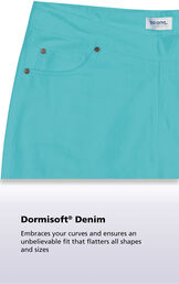 Aqua fabric with the following copy: Dormisoft Denim - Embraces your curves and ensures an unbelievable fit that flatters all shapes and sizes. image number 4