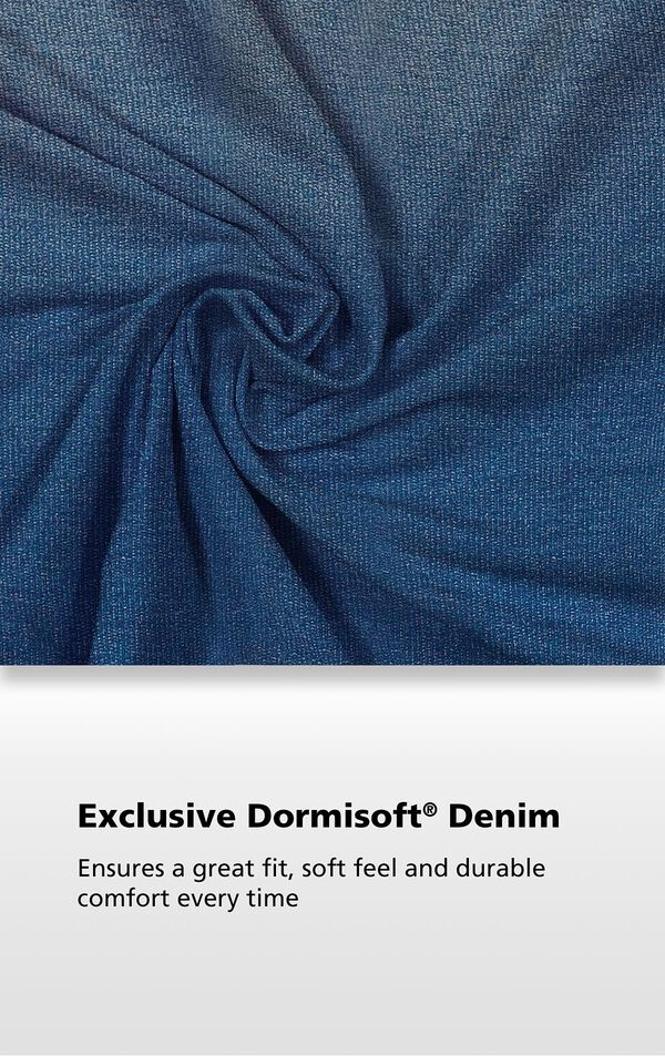 Men's Vintage Wash fabric with the following copy: Exclusive Dormisoft Denim ensures a great fit, soft feel and durable comfort every time. image number 3