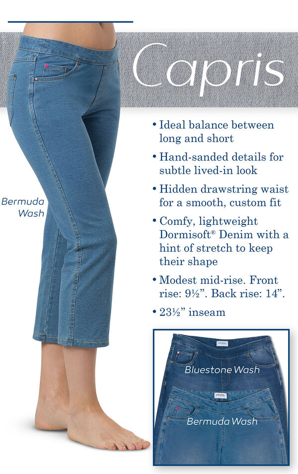 """Capris - Ideal balance between long and short. Hand-sanded details for subtle lived-in look. Hidden drawstring waist for a smooth, custom fit. Comfy, lightweight Dormisoft Denim with a hint of stretch to keep their shape. Modest mid-rise. Front rise: 9.5"""" image number 3"""