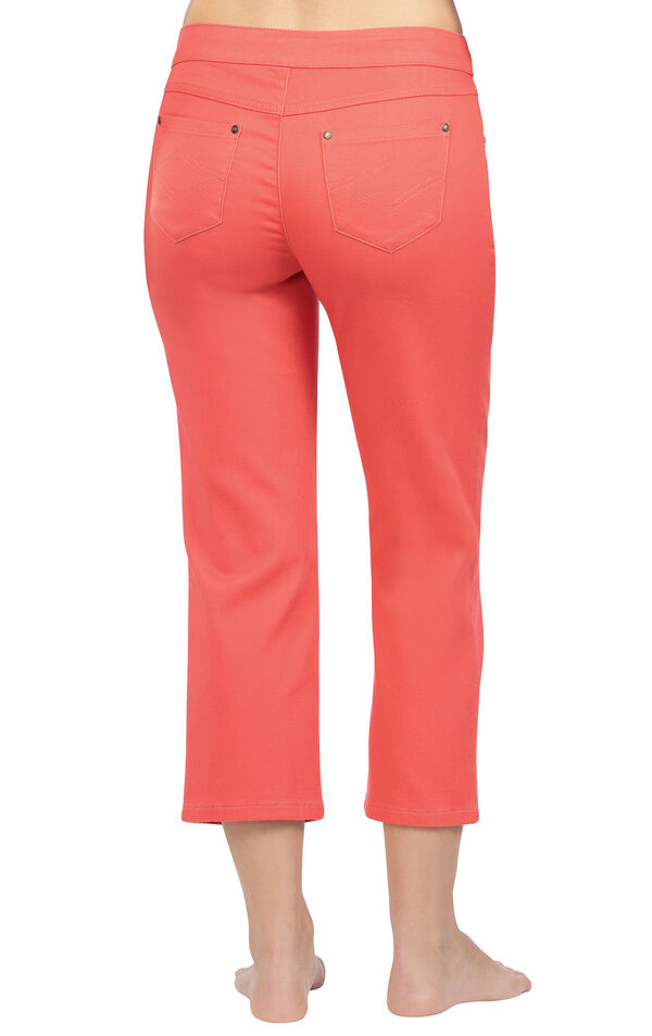 Model wearing PajamaJeans Capris - Coral, facing away from the camera image number 1