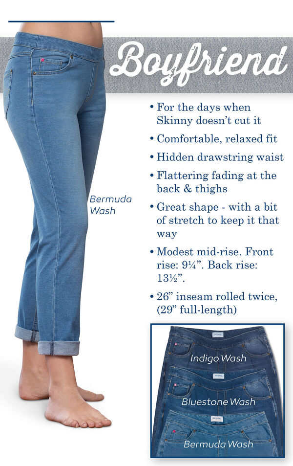Boyfriend PajamaJeans feature a comfy, relaxed fit, hidden drawstring waist and flattering fading at the back and thighs. Modest mid-rise; Front rise: 9.25'', Back rise: 13.5''. Inseam: 26'' rolled twice (29'' full length) image number 2