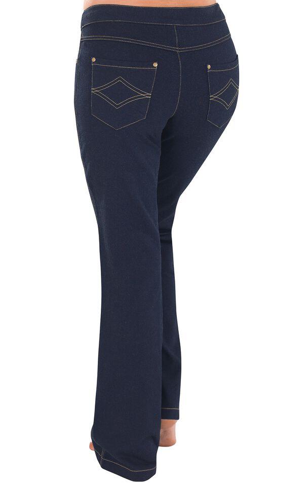 Model wearing PajamaJeans - Bootcut Indigo - The Original PajamaJeans, facing away from the camera image number 1