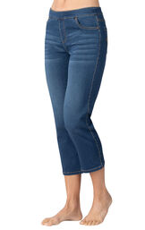 Model wearing PajamaJeans Capris - Vintage Wash image number 1