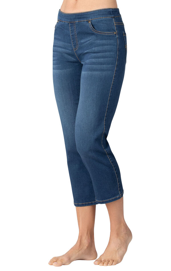 Model wearing PajamaJeans Capris - Vintage Wash image number 0