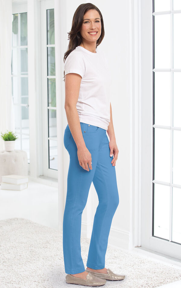 Model wearing Skinny Cool Blue PajamaJeans paired with a white t-shirt and flats. image number 2