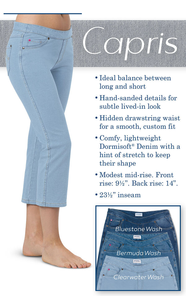 A close up of Clearwater Capris with the following copy: Ideal balance between long and short, hand-sanded details for subtle lived-in look, hidden drawstring waist. Lightweight dormisoft denim with a hint of stretch to keep their shape. Modest mid-rise image number 2