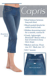 """Capris - Ideal balance between long and short. Hand-sanded details for subtle lived-in look. Hidden drawstring waist for a smooth, custom fit. Comfy, lightweight Dormisoft Denim with a hint of stretch to keep their shape. Modest mid-rise. Front rise: 9.5"""" image number 2"""