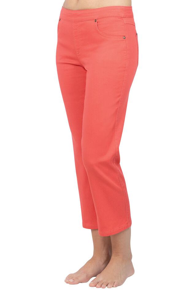 Model wearing PajamaJeans Capris - Coral image number 0