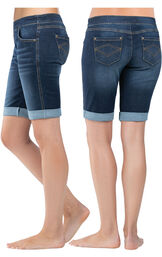 Model wearing PajamaJeans Bermuda Shorts - Indigo Wash, facing away from the camera and then to the side image number 1