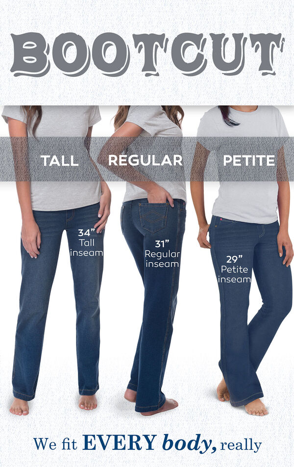 "We fit EVERY body, really. Bootcut jeans have a 34"" Tall inseam, 31"" Regular inseam, and 29"" Petite inseam. image number 5"