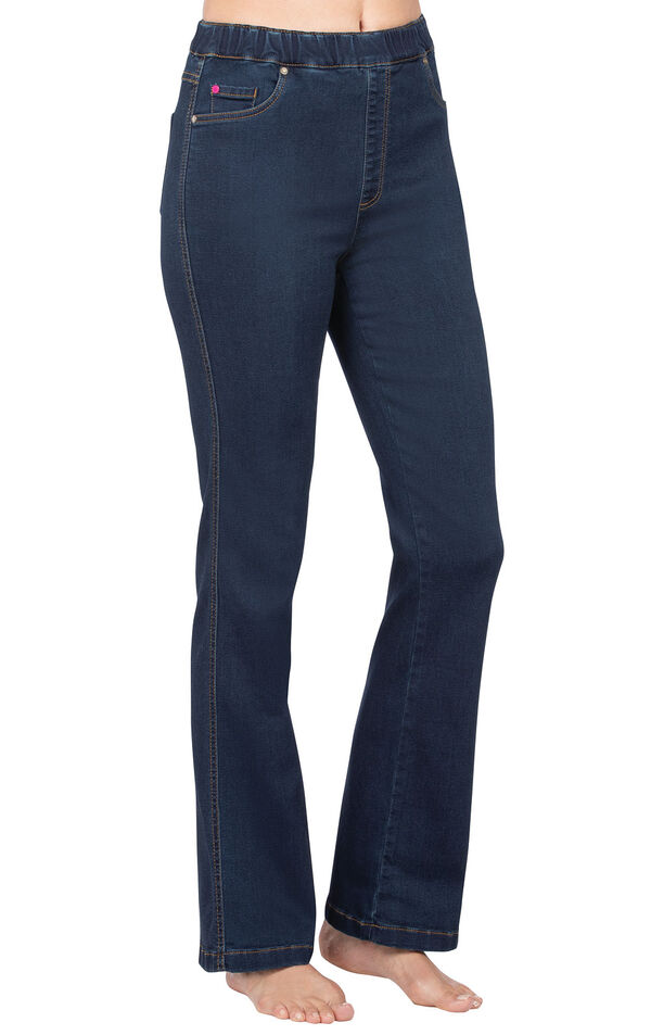 Model wearing PajamaJeans - High-Waist Bootcut Indigo image number 0