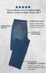 Vintage Wash PajamaJeans for Men laying flat with the following copy: Pull-on waist with hidden drawstring, Embossed Rivets, 5-Pocket Detailing, Exclusive Dormisoft Denim ensures a great fit, soft feel and durable comfort every time. image number 4