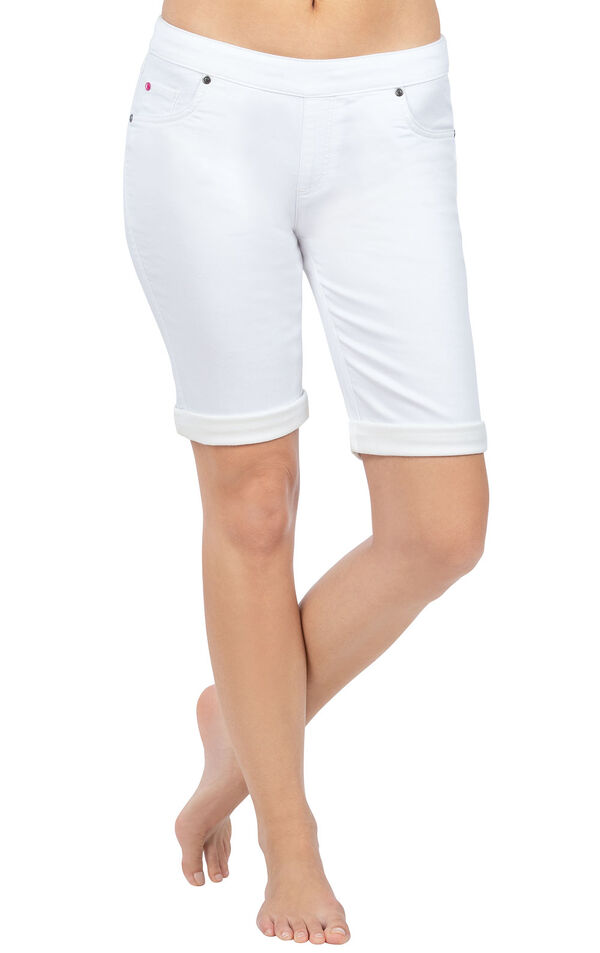 Model wearing PajamaJeans Bermuda Shorts - White image number 0