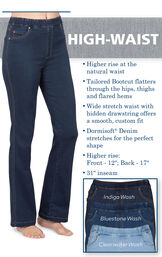 High-Waist PajamaJeans have higher rise at the natural waist, a tailored bootcut that flatters, a wide stretch waist with hidden drawstring and dormisoft denim that stretches for the perfect shape. Higher rise: Front - 12''; Back - 17''. 31'' inseam. image number 2