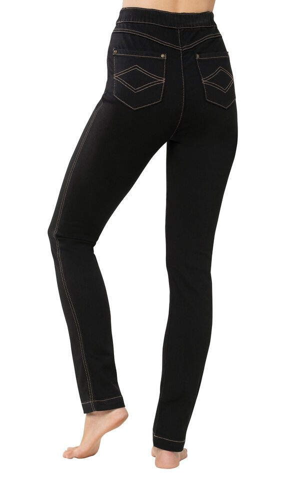 PajamaJeans - High-Waist Skinny Black - back view image number 1