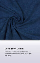 Bluestone Wash Dormisoft Denim Fabric with the following copy: Dormisoft Denim - Embraces your curves and ensures an unbelievable fit that flatters all shapes and sizes. image number 4
