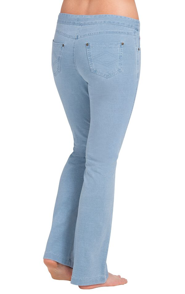 Model wearing PajamaJeans - Bootcut Clearwater Wash, facing away from the camera image number 1