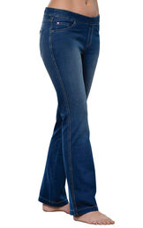 Model wearing PajamaJeans - Bootcut Bluestone Wash image number 0