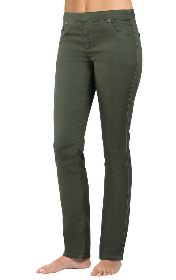 Model wearing PajamaJeans - Skinny Olive image number 0