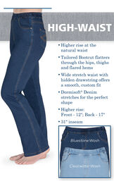 "Higher rise at the natural waist. Tailored Bootcut flatters through the hips, thighs and flared hems. Wide stretch waist with hidden drawstring. Higher Rise - Front - 12"", Back - 17"". 31"" inseam. image number 3"