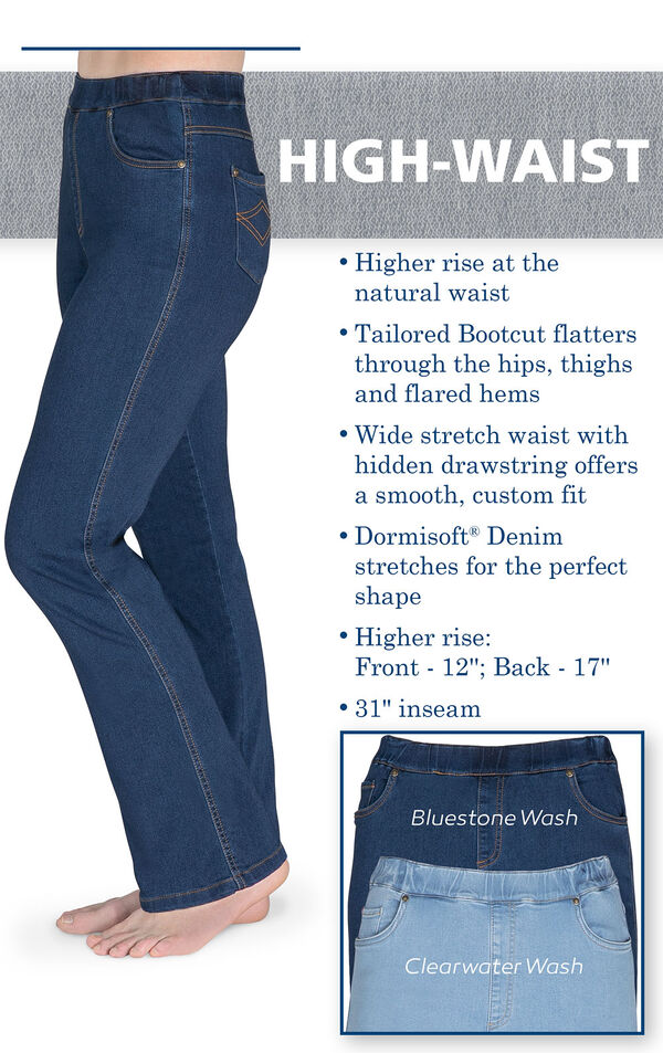 High-Waist Bootcut Jeans with the following copy: Higher rise at the natural waist, Tailored Bootcut flatters through the hips, thighs and flared hems. Wide stretch waist with hidden drawstring. Higher Rise: Front - 12', Back - 17'. 31' inseam image number 3