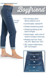 Boyfriend PajamaJeans feature a relaxed fit, hidden drawstring waist and flattering fading at the back and thighs. Modest mid-rise; Front rise: 9.25'', Back rise: 13.5''. Inseam: 26'' rolled twice (29'' full length) image number 2