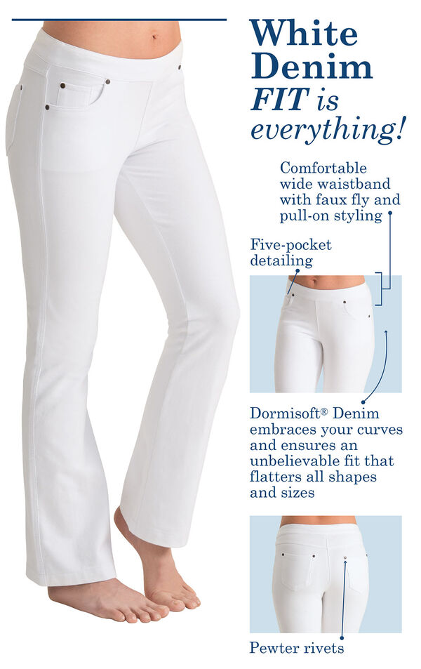 White Denim, Fit is everything! Comfortable wide waistband with faux fly and pull-on styling, Five pocket detailing, Dormisoft Denim embraces your curves and ensures an unbelievable fit that flatters all shapes and sizes, Pewter rivets. image number 3