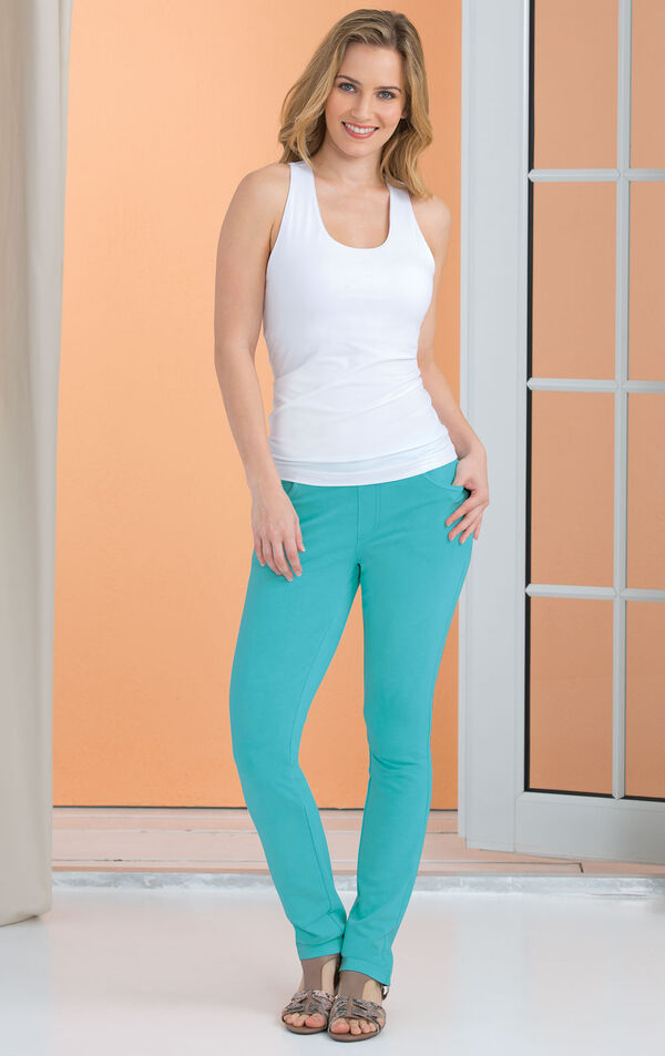 Model wearing Skinny Aqua PajamaJeans paired with brown sandals and a white tank top image number 2