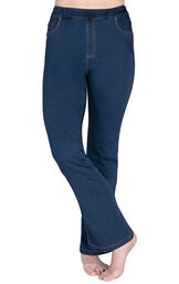 Model wearing PajamaJeans - High-Waist Bootcut Bluestone Wash image number 0