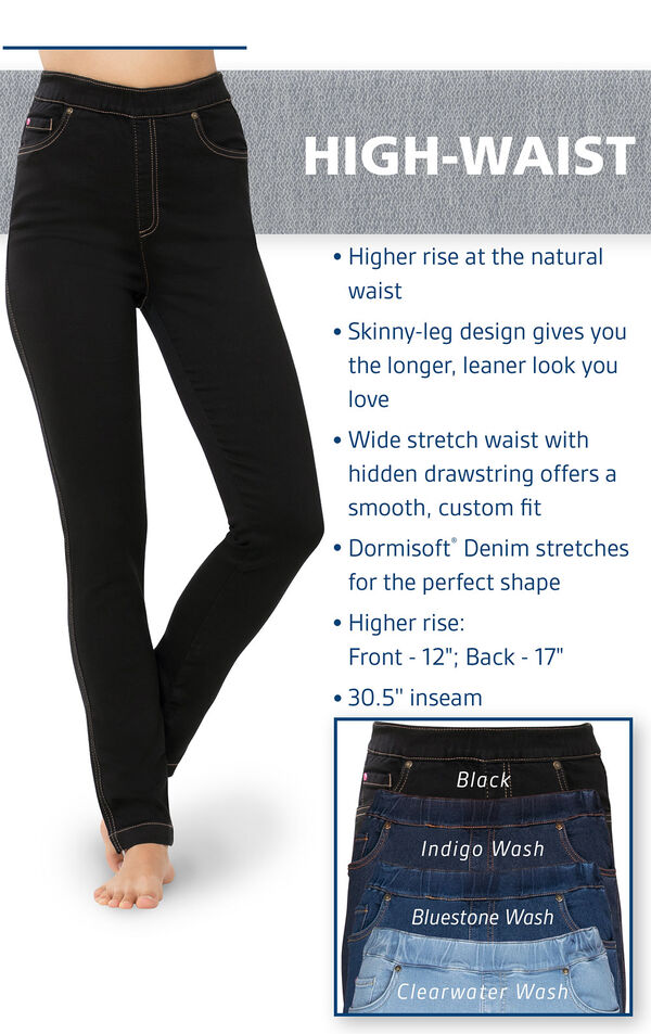 Higher rise at the natural raist. Skinny-leg design gives you the longer, leaner look you love. Wide stretch waist with hidden drawstring offers a smooth, custom fit. Cormisoft Denim stretches for the perfect shape. image number 3
