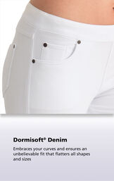 White fabric with the following copy: Dormisoft Denim - Embraces your curves and ensures an unbelievable fit that flatters all shapes and sizes. image number 6