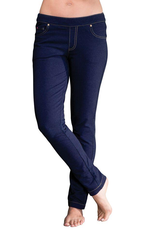 Model wearing PajamaJeans - Fleece-Lined Skinny Indigo image number 0