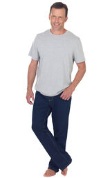 Model wearing Indigo PajamaJeans for Men paired with a Gray T-shirt image number 2