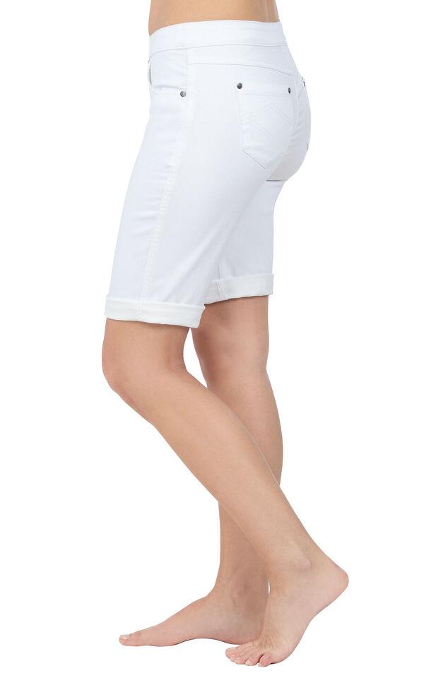 Model wearing PajamaJeans Bermuda Shorts - White, facing to the side image number 2