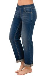 Model wearing PajamaJeans - Boyfriend Bluestone Wash image number 0