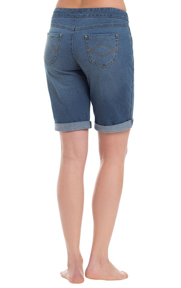Model wearing PajamaJeans Bermuda Shorts - Bluestone Wash, facing away from the camera image number 1