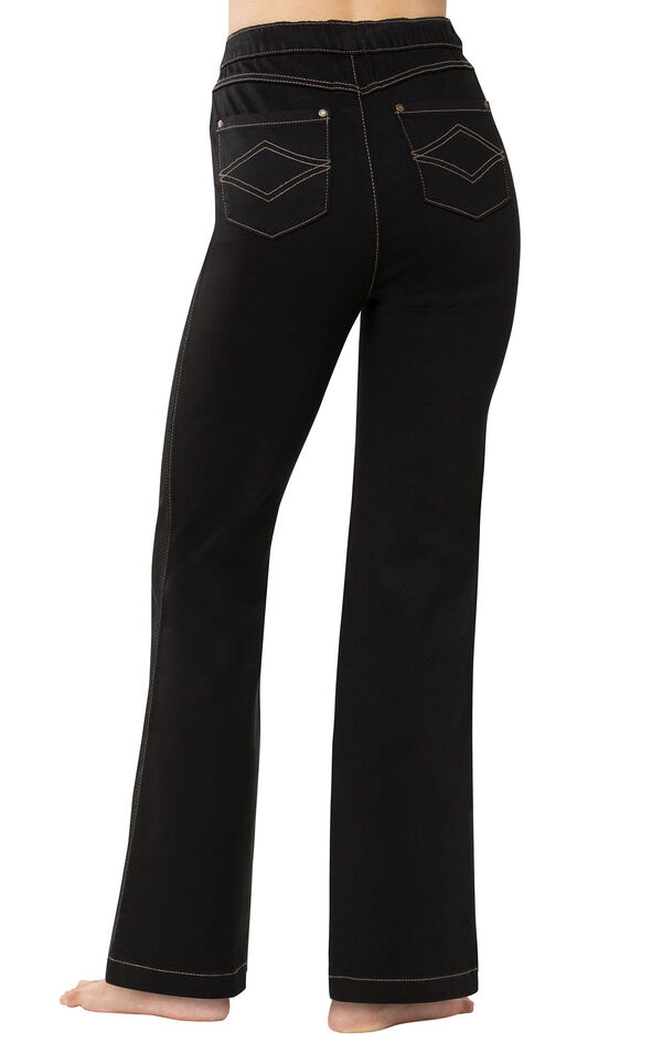 PajamaJeans - High-Waist Bootcut Black - Back View image number 1