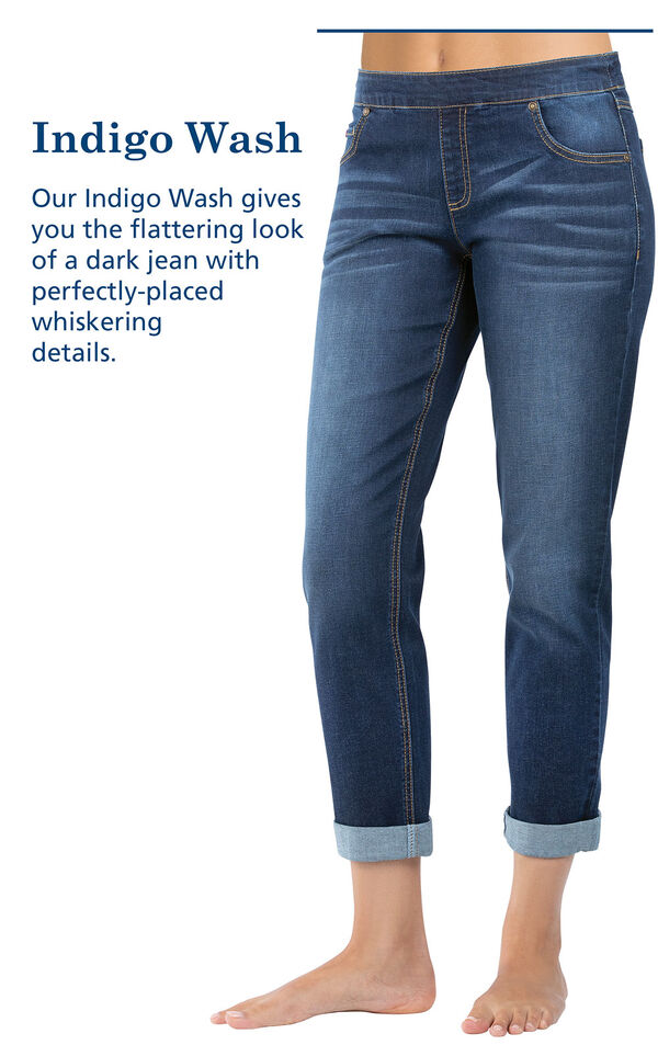 Indigo Wash with the following copy: Our Indigo Wash gives you the flattering look of a dark jean with the perfectly-placed whiskering details image number 3