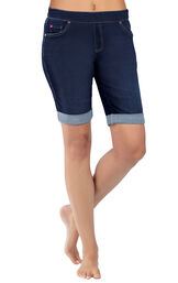 Close-up of model's waist and legs wearing PajamaJeans Bermuda Shorts Indigo, Cuffed image number 0