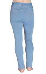 Model wearing PajamaJeans - High-Waist Skinny Clearwater, facing away from the camera image number 1