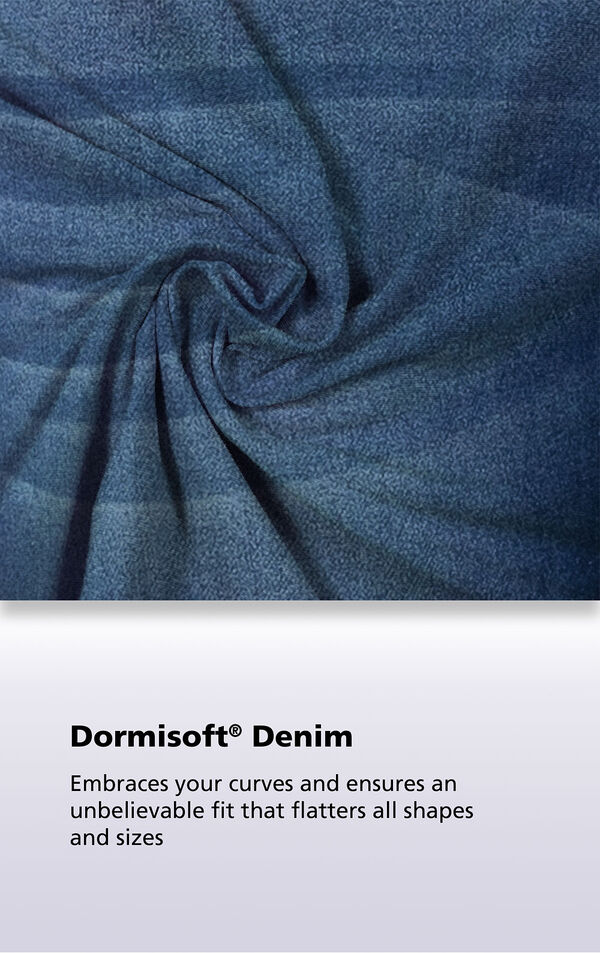 A close up of Blue Vintage Wash Dormisoft Denim, it embraces your curves and ensures an unbelievable fit that flatters all shapes and sizes image number 5