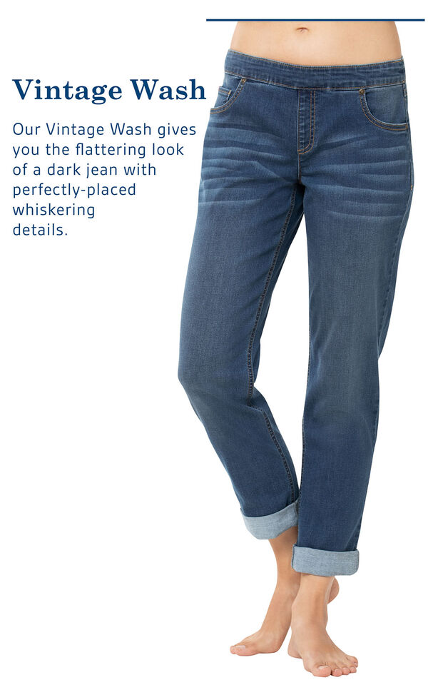 Vintage Wash Jeans with the following copy: Our Vintage Wash gives you the flattering look of a dark jean with perfectly placed whiskering details image number 3