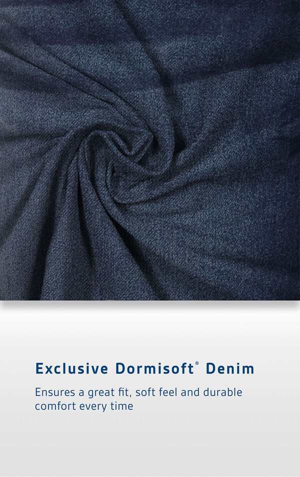 Men's Indigo Wash Fabric with the following copy: Exclusive Dormisoft Denim ensures a great fit, soft feel and durable comfort every time. image number 3