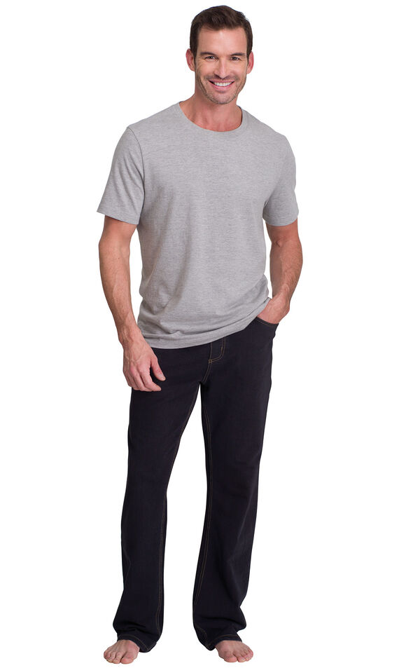 Model wearing PajamaJeans for Men - Black paired with a Gray Short-Sleeve T-shirt image number 2