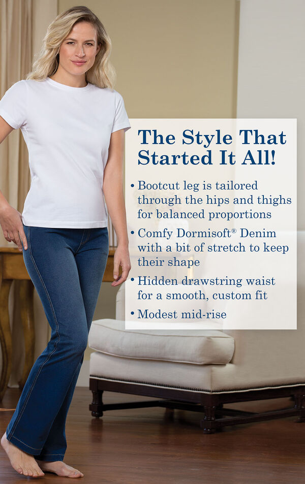 The Style That Started It All! Bootcut leg is tailored through the hips and thighs for balanced proportions. Comfy Dormisoft Denim with a bit of stretch to keep their shape. Hidden drawstring waist for a smooth, custom fit. Modest mid-rise. image number 2