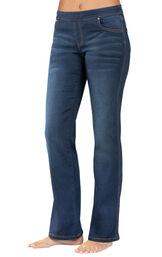 Model wearing PajamaJeans - Bootcut Indigo Wash image number 0
