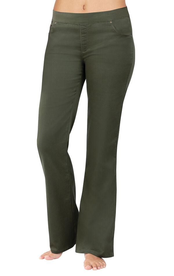 Model wearing PajamaJeans - Bootcut Olive image number 0