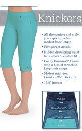 Aqua Knickers with the following copy: All the comfort and style you expect in a fun, modest knee length. Five-pocket details. Hidden drawstring waist. Comfy Dormisoft Denim with a hint of stretch. Modest mid-rise: Front: 9.25', Back-14. 15.5' inseam. image number 2
